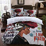 4pcs Duvet Cover Set - African American Woman Red Hair with Graffiti Wall - Full Size 4 Piece Bedding Sets Lightweight Microfiber Bedspread Comforter Cover and Pillowcases for Adult/Children/Teens