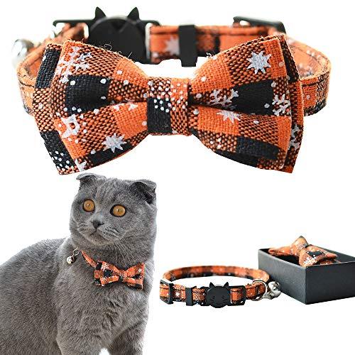 Coleira de gato M-YOUNG com gravata de sino e laço, design xadrez ajustável coleiras de gatinho (17 a 27 cm) (11) (20)