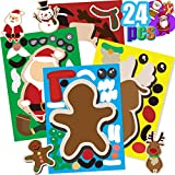 Funnlot 24 PCS Christmas Stickers For Kids Make A Christmas Stickers Snowman Stickers Santa Stickers Gingerbread Stickers Reindeer Stickers Xmas DIY Crafts Christmas Party Games Christmas Class Gifts for Kids