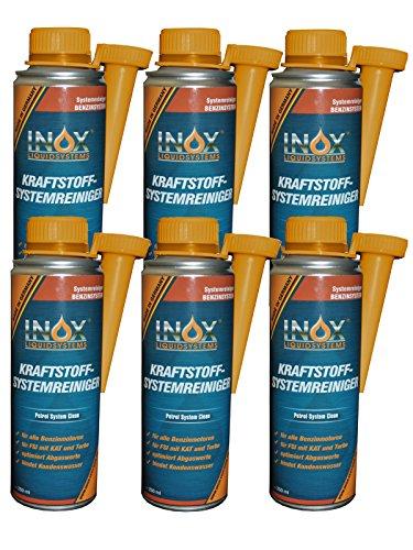 INOX® Kraftstoffsystem Reiniger, 6 x 250ml - Additiv für alle Benzinmotoren entfernt Verschmutzungen und erhöht Lebensdauer von Motoren