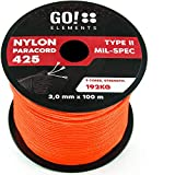 GO!elements 100m Cuerda Paracord de Nylon Resistente al desgarro - 3mm Paracord 425 Tipo II líneas como Cuerda para Exteriores, Cuerda para Todo Uso - línea de Nylon MAX. 192kg, Color:Naranja