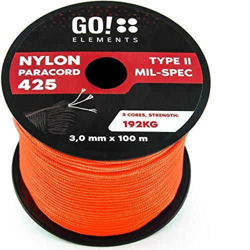 GO!elements 100m Paracord Seil aus reißfestem Nylon - 3mm Paracord 425 Typ II max. 192kg - Schnüre als Outdoor Seil, Allzweckseil, Survival Seil, Armband, Hundeleine, Nylonschnur, Farbe:Orange
