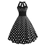 99AMZ Robe de Bal Polka Vintage pin-up à 'Audrey Hepburn' 60's Rockabilly Halter, Robe Années 50's Audrey Hepburn Rockabilly Swing,Plissé Robe à Manches Courtes (F, 5XL)