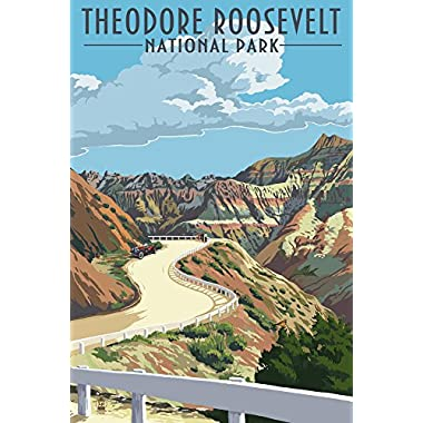 Theodore Roosevelt National Park, Nouth Dakota - Road Scene (12x18 Collectible Art Print, Wall Decor Travel Poster)