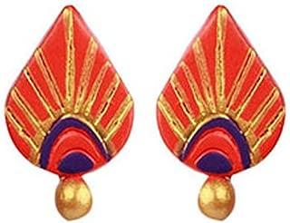 Terramart_ Handmade Terracotta Earring Set_Fashion Jewellery for Women / Girls ( Orange, Violet & Gold )