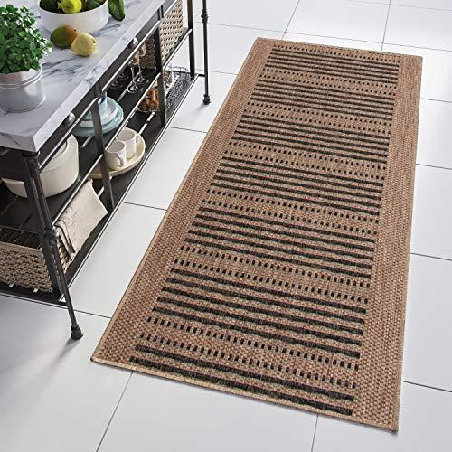 Tapiso Floorlux Alfombra de Pasillo Cocina Comedor Terraza Diseño Moderno Café Negro Rayas Resistente Sisal 70 x 150 cm