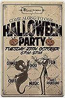 私たちに沿って来てください。 ハロウィーンパーティー、ブリキのサインヴィンテージ面白い生き物鉄の絵の金属板ノベルティ