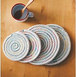 ZOUJIN Cotton Thread Heat Insulation Pad Pot Holder Kitchen Coaster Table Mat Round Placemat (Color : 4pcs, Size : 18cm)