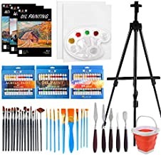 H&B 108pc Deluxe Artist Painting Set with Aluminum Easels,Professional Artist Kit with Oil, Acrylic & Watercolor Paints,Palette,5 Canvases, 3 Sketch Books,27 Brush Sets,Brush Washing Barrel