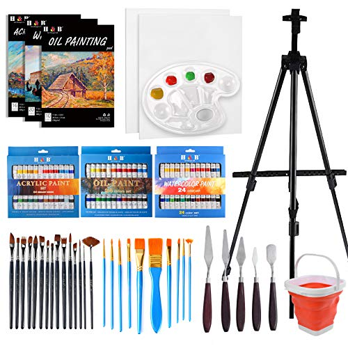H & B Deluxe Art Painting Sets with Foldable Aluminum Artist Easel, 108Pcs...