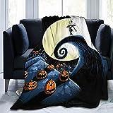 Manta de forro polar de Nightmare Before Christmas Jack Skellington, manta suave y cálida para sofá, manta de cama para habitación de los niños, una gran decoración de regalo de 50 x 40 pulgadas