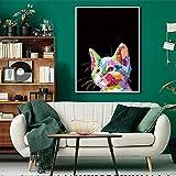 Estilo nórdico Colorido Ciervo Gallo Perro Gato Cartel Arte de la Pared Animal para Sala de Estar decoración del hogar,Pintura sin marco-60X80cm