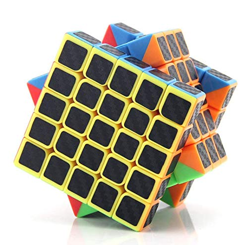 cfmour Speed Cube 5x5x5,Smooth Magic Carbon Fiber Sticker Rube Speed Cubes,Enhanced Version,Black