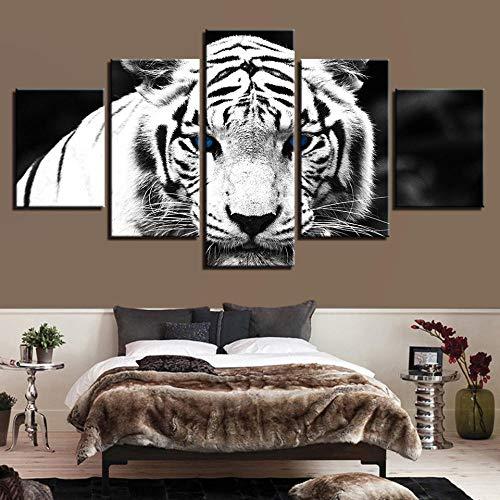RYQRP Bild auf Leinwand Weißer Tiger Tier Kunstdruck Leinwandbilder - Modern Wandbilder Poster für Kinderzimmer Wohnzimmer Wandgemälde Wanddeko - Fertig zum Aufhängen,...