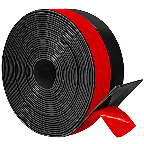 Wide Silicone Weather Stripping 3 inch Width 20 Feet Length, Draft Stopper Seal for Barn and Garage Door Under Bottom,Top, Sides, Black