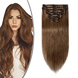 Extension Capelli Veri Clip 8 Fasce Remy Human Hair Full Head XL Set Lisci Lunga 8 pollici 20cm Pesa...