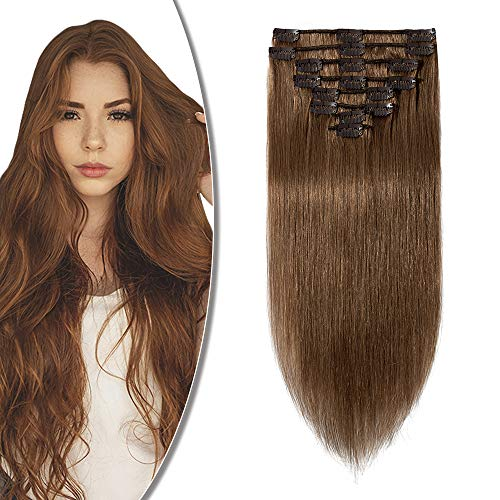 Rich Choices Extension Clip Capelli Veri 8 Pezzi Full Head 100% Remy Human Hair Extensions Lunga 20cm Pesa 65g, 6 Castano