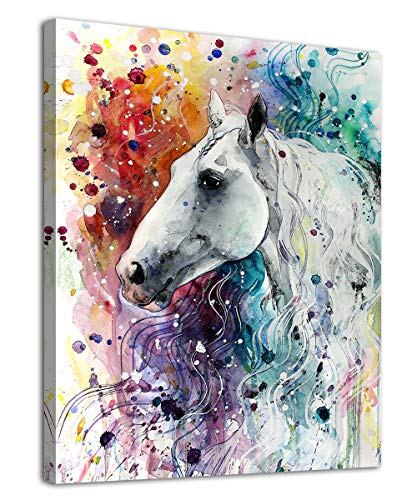 arteWOODS Colorful Horse Canvas Wall Art Modern Horse Portrait Watercolor Painting Artwork Prints Contemporary Wall Art for Home Decor Bedroom Living Room Decoration Framed Ready to Hang 12' x 16'