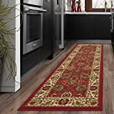 Ottomanson Ottohome Collection Traditional Floral Design Modern Runner Rug with Non-Skid (Non-Slip) Rubber Backing, Persian Style, Dark Red