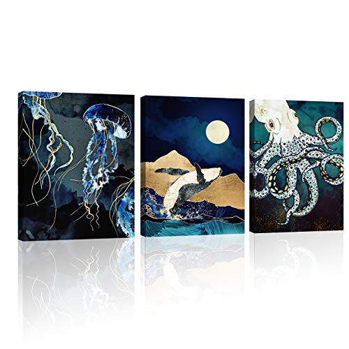 Blue Ocean Theme Abstract Jellyfish,Whale & Octopus Modern Canvas Wall Art Paintings Wall Artworks Pictures for Living Room Bedroom Decoration, 3 Panels Home Bathroom