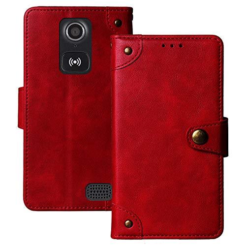 Dingshengk Retro Flip Rot Echt Leder Tasche Hülle TPU Silikon Für Doro Liberto 8031 8030 4.5