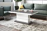 HU Design Couchtisch Tisch Matera Lux H-333 Hochglanz höhenverstellbar ausziehbar Wohnzimmertisch Esstisch (Grau/Weiß Hochglanz)