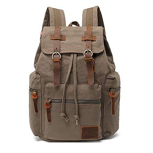 AUGUR Vintage Rucksack Herren Laptoprucksack 15.6 Zoll Rucksäcke Daypacks Schulrucksack Herren Damen Rucksack Segeltuch