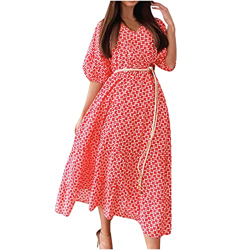 AMhomely Women Dress Sale,Ladies's Fashion Dress Short Sleeve V-Neck Floral Long Dress with Belt UK Size Party Dress Clearance Red