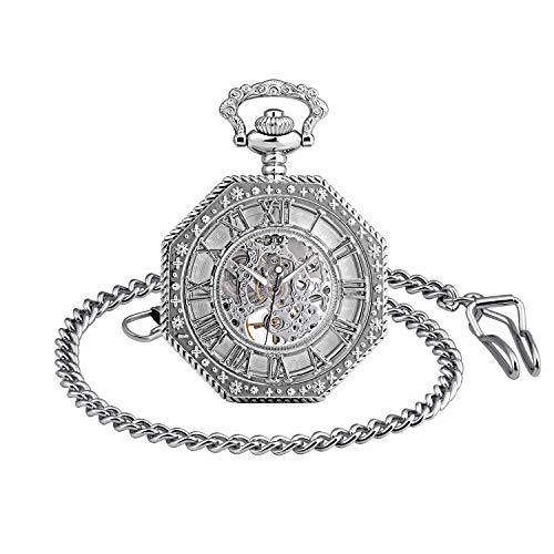 Infinite U-Roman Numbers Ottagonale Squisita Bozza Retro Orologio da tasca meccanico Idea regalo per uomo Donna