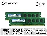 Timetec Hynix IC 8GB Kit (2x4GB) DDR3L 1600MHz PC3-12800 Unbuffered Non-ECC 1.35V CL11 2Rx8 Dual Rank 240 Pin UDIMM Bureau Mémoire RAM Module Upgrade (8GB Kit (2x4GB))