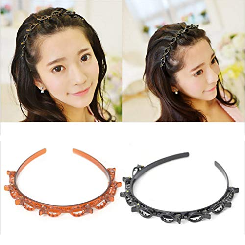 2020 Doppel-Pony Haarnadel, Kunststoff, rutschfeste Haarspangen mit gezacktem Pony, geflochtenes Haarband, für Haarspangen, Wellen-Styling und Make-up-Anwendung (braun)