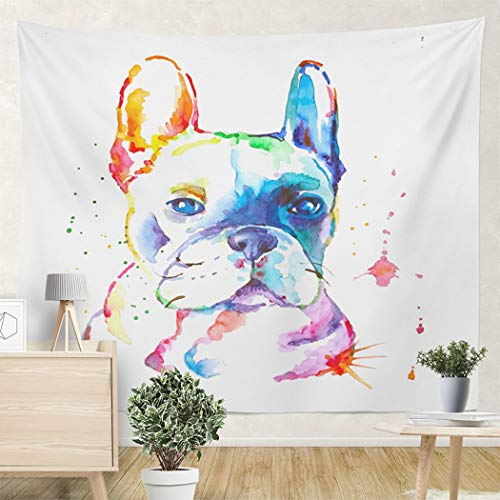 LEKAIHUAI Tapestry Wall Hanging French Bulldog Watercolor Wall Tapestries Decoration for Bedroom Living Room Dorm 82.7X59.1 Inches
