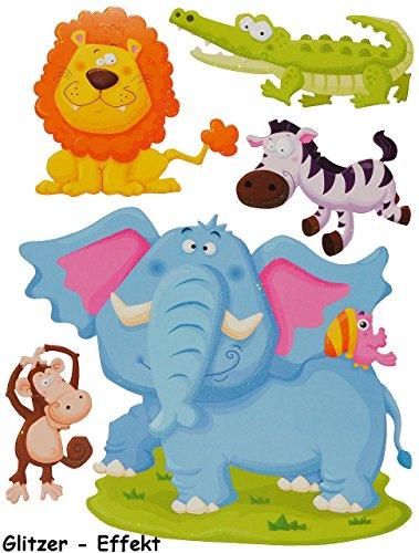 alles-meine.de GmbH 5 TLG. Set 3-D ! Wandtattoo / Fensterbild -  AFFE Elefant - Tiere Tier Afrika  - Pappe selbstklebend - Wandsticker / Pappsticker - AFFE - Löwe Krokodil / Wi..