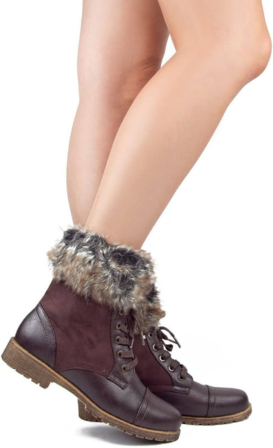 Fourever Funky Combat Lace Up Faux Fur Ankle Cuff Lug Sole Booties