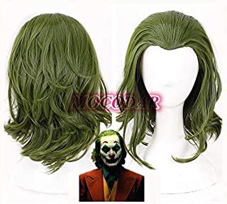 Nueva llegada 2019 Joker Origin Movie Scary Clown Joker Peluca Cosplay Joaquin Phoenix Arthur Fleck Curly Green Hair Peluca de Halloween