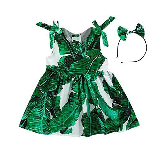 Obestseller Kleider für Mädchen Kleinkind Baby Mädchen Blätter Print Kleid Riemen Party Stirnband Strandkleid Sommerkleid Mädchen ärmelloses Blatt Haarband Prinzessin Kleid
