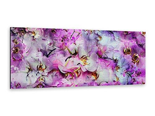 Alu-Dibond afbeelding ALP12502127 orchidee bloemen tapijt 125 x 50 cm Butlerfinish® edel geborstelde muurprint, metalen effect eyecatcher!