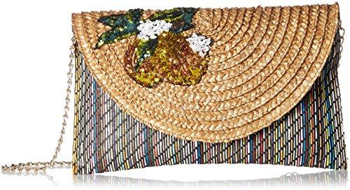 Betsey Johnson Damen Lemon and Stripes Print Straw Clutch im Stroh, Druck-Design: Zitronen und Streifen, navy, Einheitsgröße