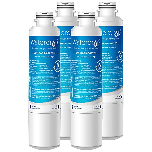 Waterdrop DA29-00020B Refrigerator Water Filter, Compatible with Samsung DA29-00020B, DA29-00020A, HAF-CIN/EXP, 46-9101, Standard, Pack of 4
