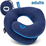 BCOZZY Chin Supporting Travel Neck Pillow - for Traveling and Comfortable Sleep on Airplane, Car Road Trips, Bus, Train, or at Home - Fully Machine Washable, Carry Bag. Adult, Navy