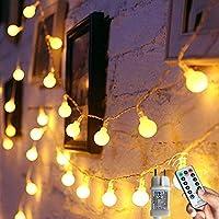 [120 LED] Lichterkette Kugel, 12M 8 Modi und Merk Funktion,lichterketten außen/innen mit Stecker, ideale party deko,...