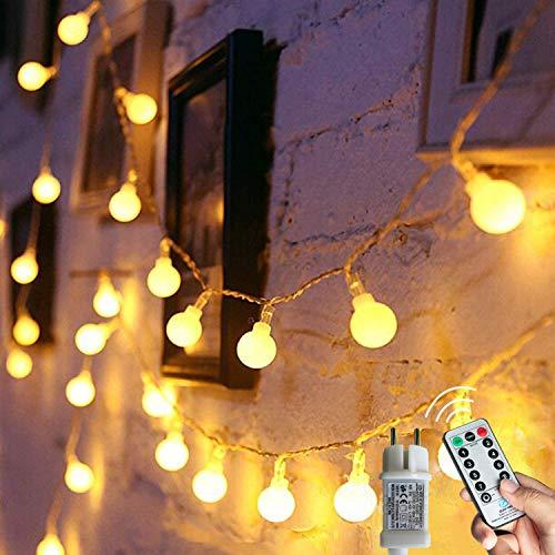 [120 LED] Lichterkette Kugel, 12M 8 Modi und Merk Funktion,lichterketten außen/innen mit Stecker, ideale party deko, kinderzimmer, balkon,weihnachtsbeleuchtung usw. (Warmweiß)