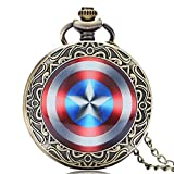 Captain America Men's Pocket Watch, Captain America Shield Weapon Pocket Watch, The First Avenger Steve Rogers Pocket Watch Gift