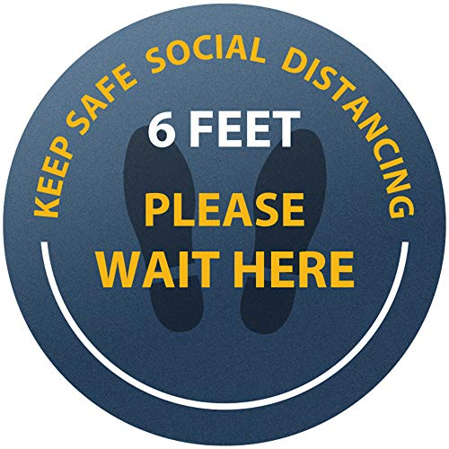 Please Wait Here Floor Decal 10 Pack | 6 Feet Safety Social Distancing Floor Sticker | Vinyl Adhesive Waterproof Reusable Stand Here Safety Sign | Commercial Grade Sign Made for All Public Places