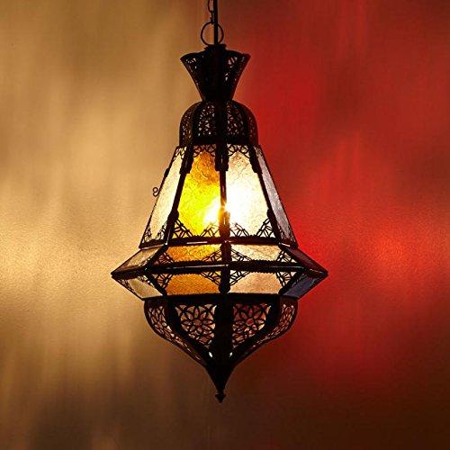 Orientalische Pendelleuchte Marokkanische Lampe Houta Multifarbig H 52 cm | Echtes Kunsthandwerk aus Marokko wie aus 1001 Nacht | Handmade Pendellampe handgefertigte Hängelampe | L1281