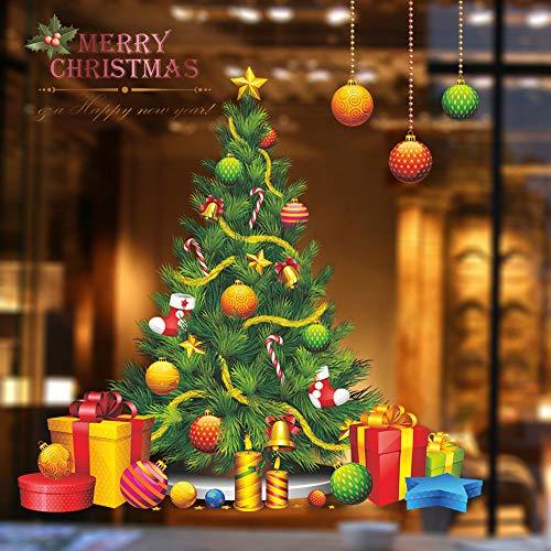 YEEXCD muurstickers, kerstboomklokken geschenksokken muurstickers, afneembare glazen raamdecoratie muurschilderingen, voor woonkamer slaapkamer huisdecoratie
