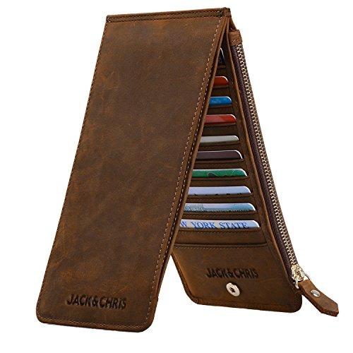Jack&Chris Leather Multi Card Organizer Wallet Credit Card Holder Thin Wallet with Zipper Pocket,MBNM026 (Dark Brown)