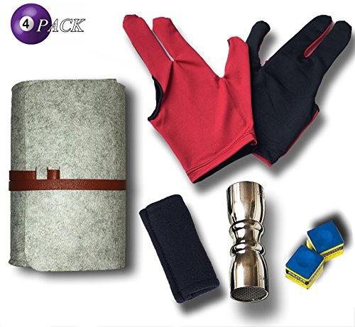 Kit di accessori per bastone da biliardo [Shaper, Scuffer, Tip Pick 3 in uno strumento + Shaft Slicker Cleaner Tool + 3 dita Show Gloves 2pcs + Gesso 2] Ottimo per la cura della stecca da biliardo,