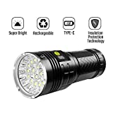 Semlos 12000 Lumen Flashlight, Super Bright Led Flashlight, Rechargeable Type-C 18xLEDs 4 Modes Torch with Insulation Protection Technology&Battery Indicator