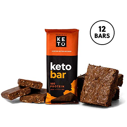 Perfect Keto Bar, Keto Snack (12 Count), No Added Sugar. 10g of Protein, Coconut Oil, and Collagen, with a Touch of Sea Salt and Stevia. (12 Bars, Almond Butter)